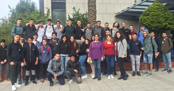 Students strike a pose at Applied Materials in Israel.